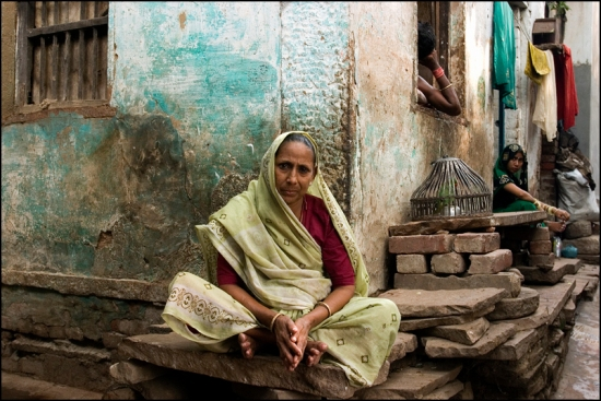 Sitting in front of her house in Varanasi