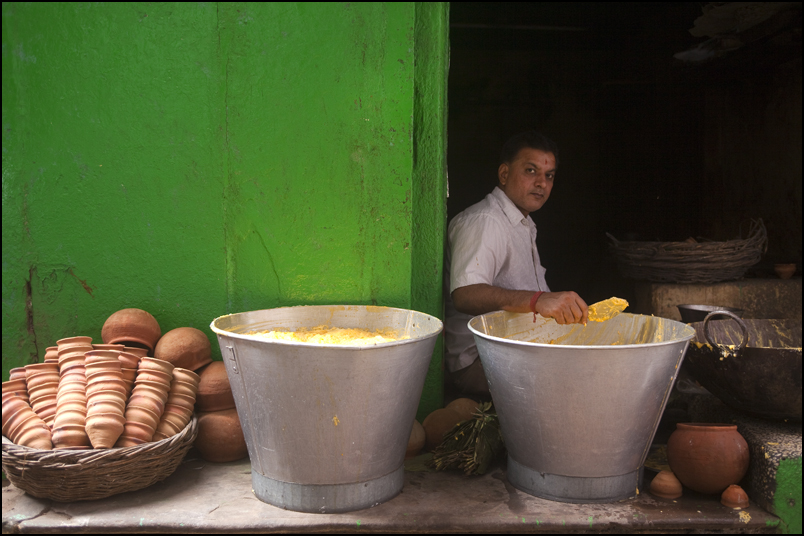 Mala, a sweet sold in the streets of Varanasi.