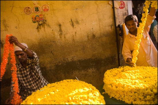 Flower sellers under the protection of Ganesh, on the wall, inside the Devaraja market in Mysore.