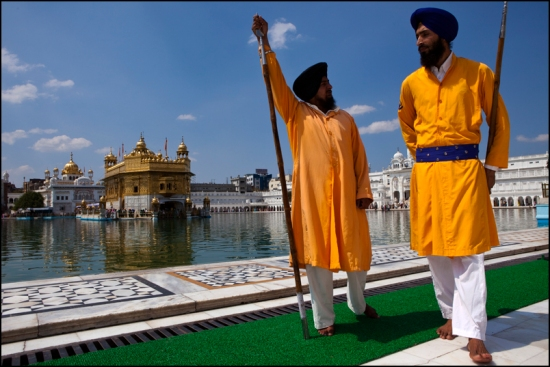 Two guards in front of the golden temple