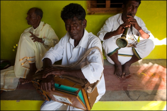 Musicians during a wedding in a village of karnataka.