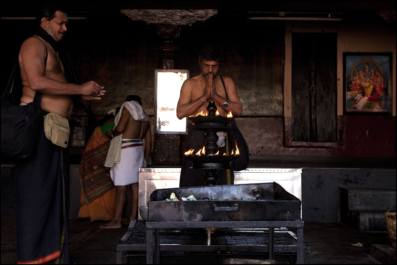 Ayappas pilgrims praying in a temple of Udupi. Karnataka.