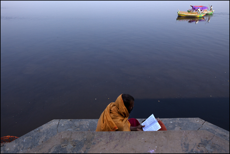 Reading. Vrindavan. Uttar Pradesh